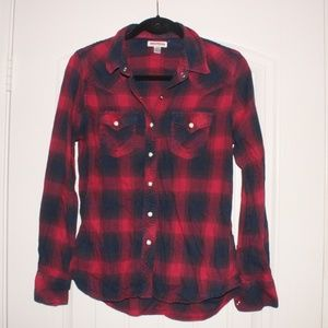 True Religion red Pearl snap plaid flannel S